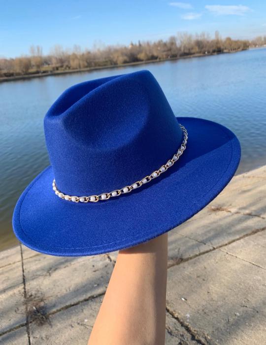 Palarie Albastra Handmade cu Lant detasabil cu perle si franjuri 4