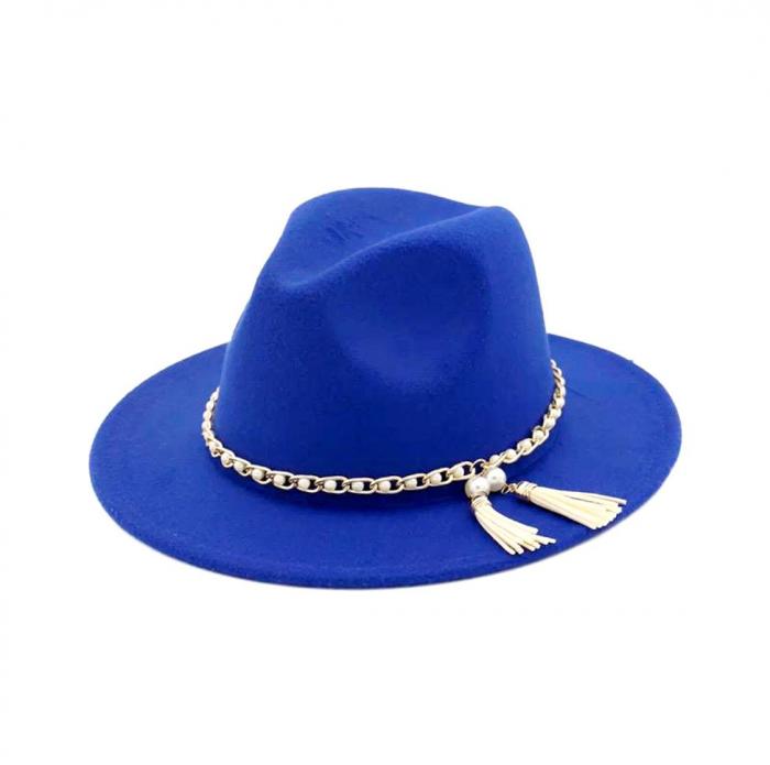 Palarie Albastra Handmade cu Lant detasabil cu perle si franjuri 0
