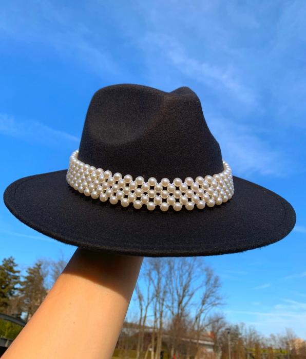 Palarie Neagra Handmade cu bentita detasabila cu perle [0]