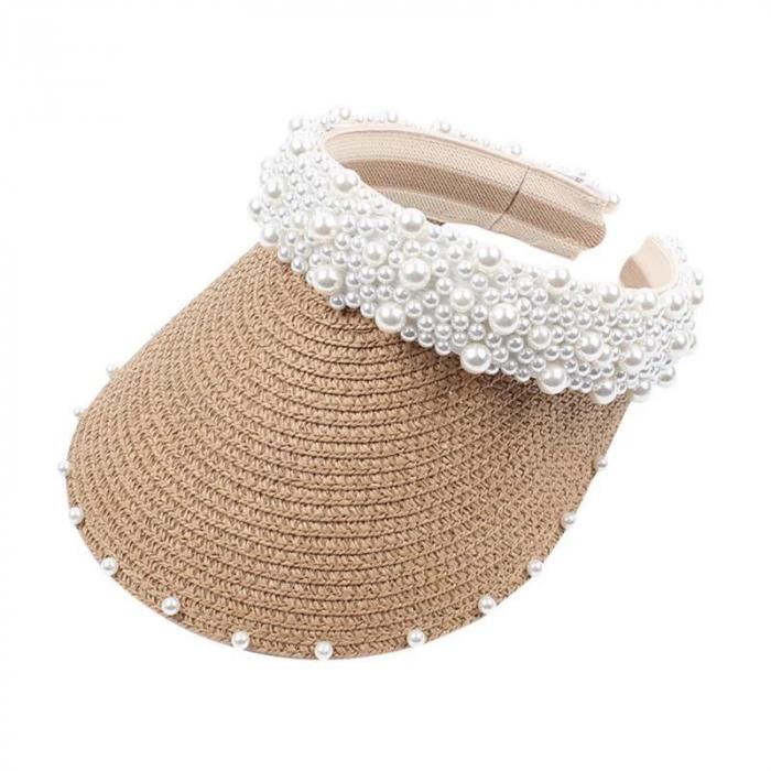 Cozoroc din rafie Bej cu perle pentru adulti sau copii 1