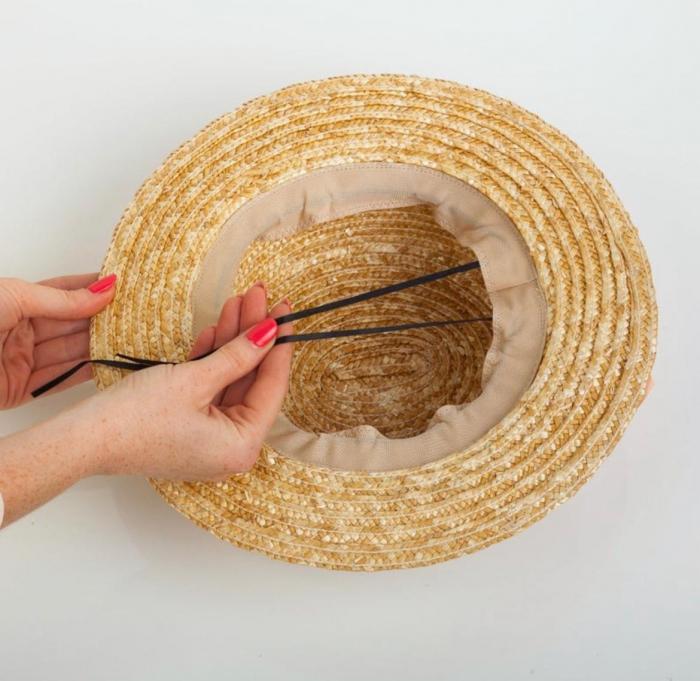 Canotiera de Soare Handmade din paie cu Bor Mic si bentita detasabila cu Perle [8]