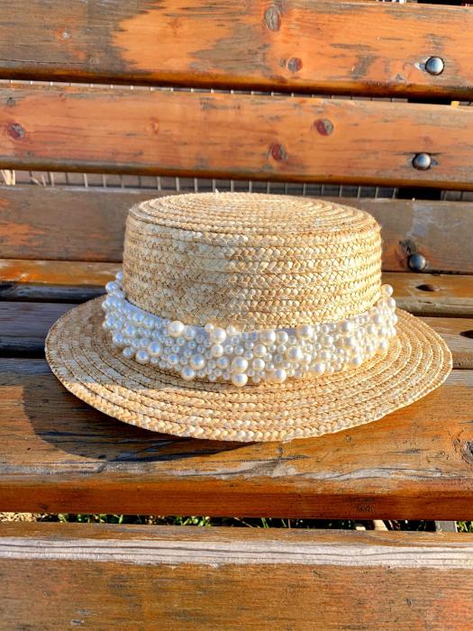 Canotiera de Soare Handmade din paie cu Bor Mic si bentita detasabila cu Perle Luxury [6]