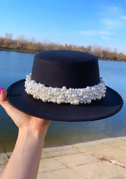 Canotiera Neagra Handmade cu bentita detasabila cu perle Luxury 0