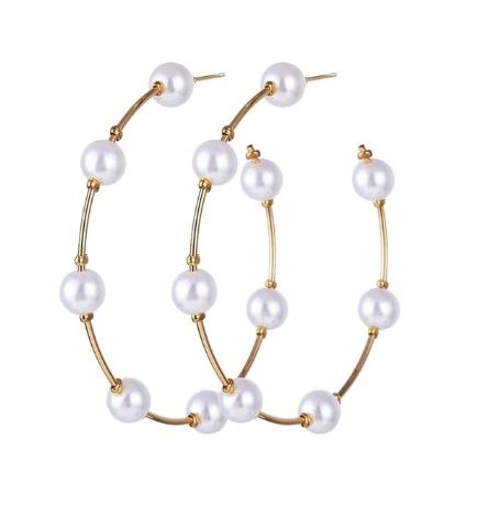 Cercei rotunzi cu perle - diametru 5 cm 0