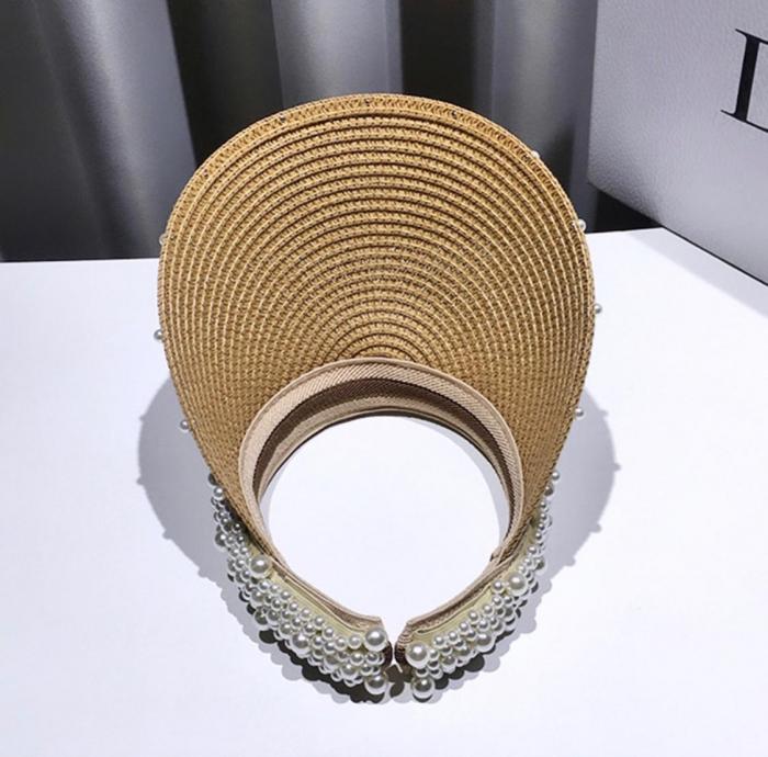 Cozoroc din rafie Bej cu perle pentru adulti sau copii 6