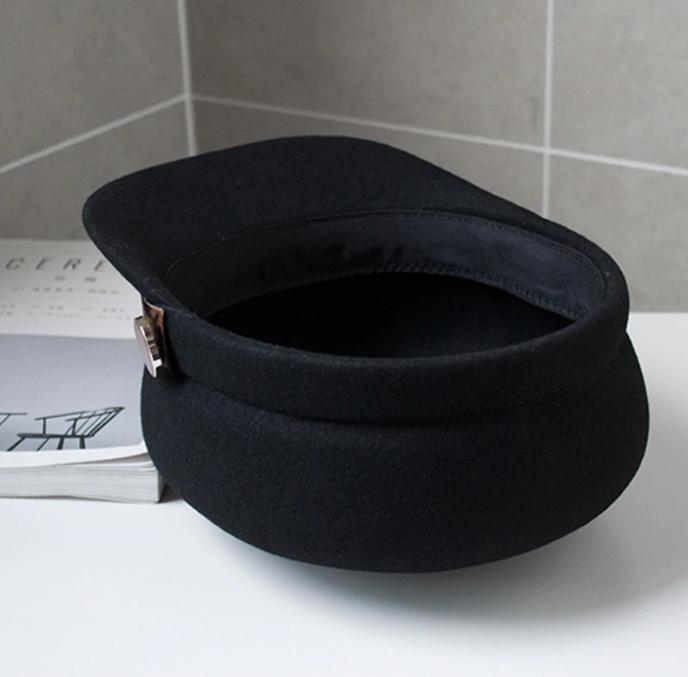 Sapca Neagra eleganta din lana cu Bentita Leopard Print 7