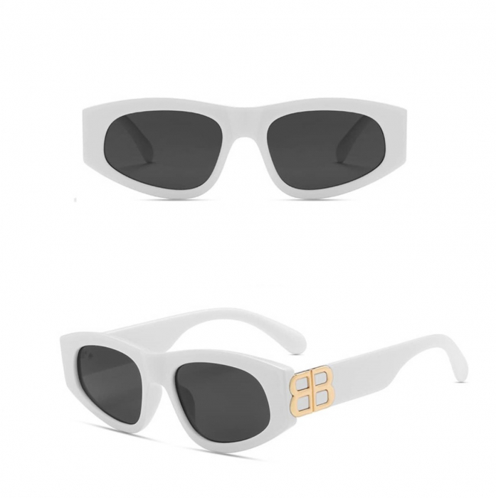 Ochelari de Soare Albi cu detalii aurii [0]