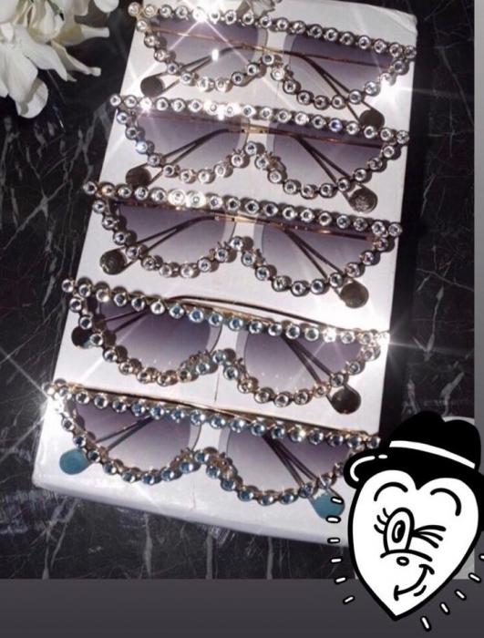 Ochelari de Soare Gri cu Cristale [3]
