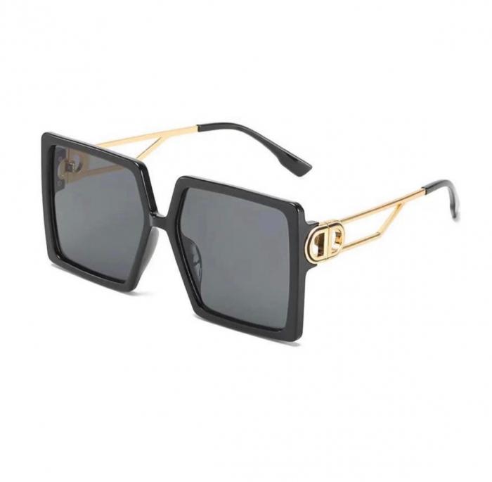 Ochelari de Soare Supradimensionati Negri cu auriu [0]