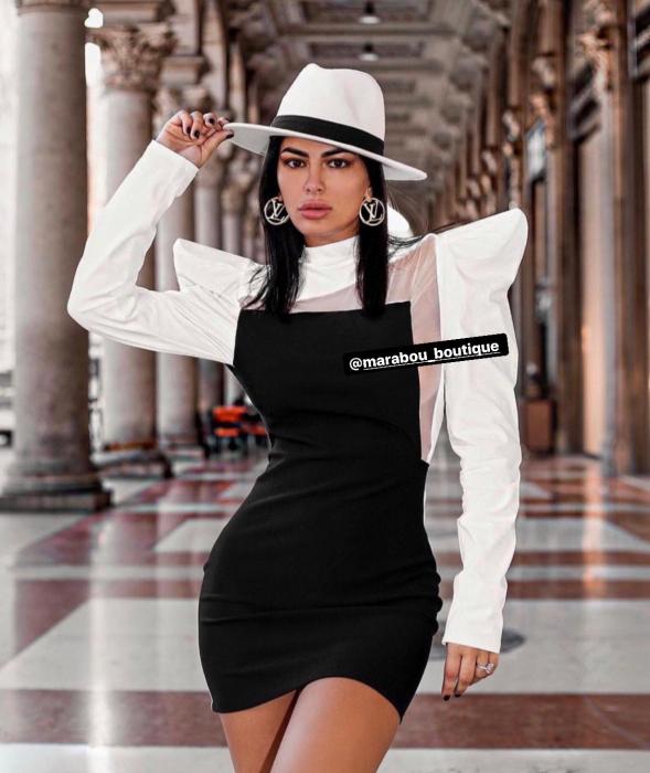 Palarie Alba Handmade cu bentita detasabila din piele neagra 12