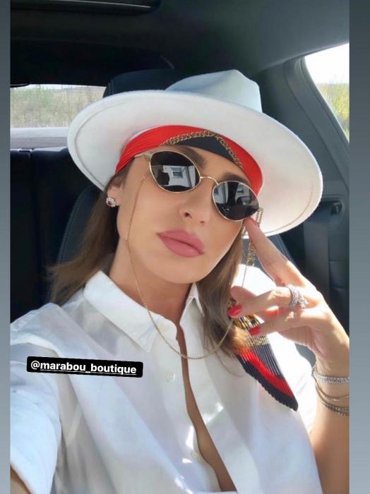 Palarie Alba Handmade cu bentita detasabila din piele neagra 5