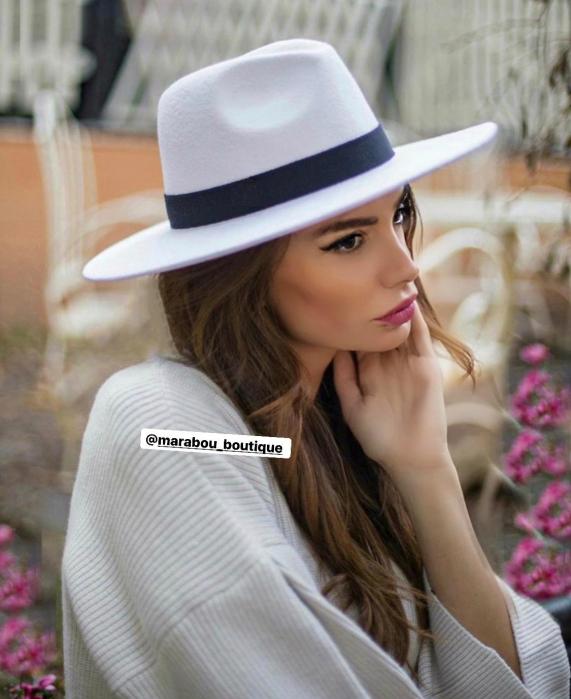 Palarie Alba Handmade cu bentita detasabila si brosa la alegere [36]