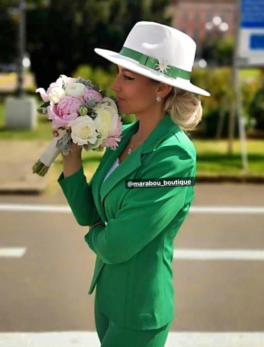 Palarie Alba Handmade cu funda si accesoriu la alegere 30