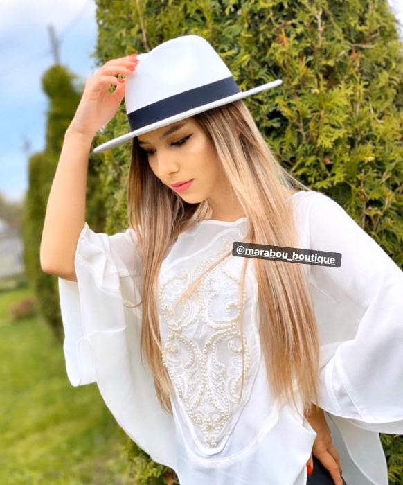 Palarie Alba Handmade cu funda si accesoriu la alegere 25