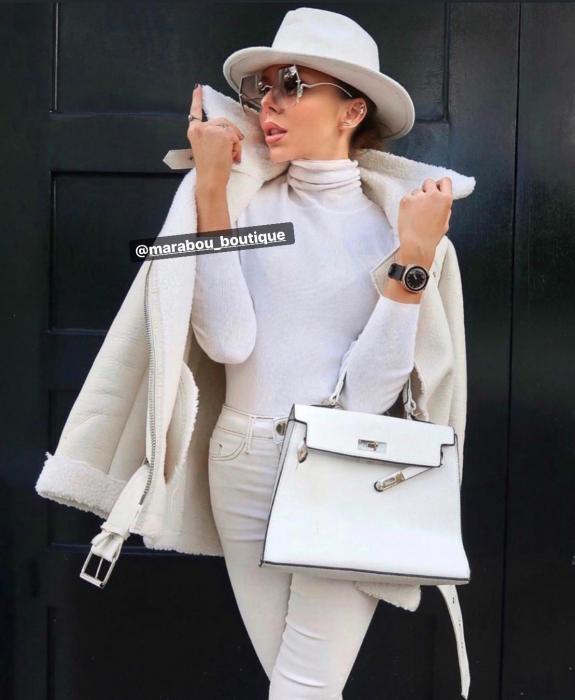 Palarie Alba Handmade cu bentita detasabila cu perle 9
