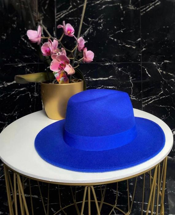 Palarie Albastra Handmade cu bentita detasabila si brosa la alegere [6]