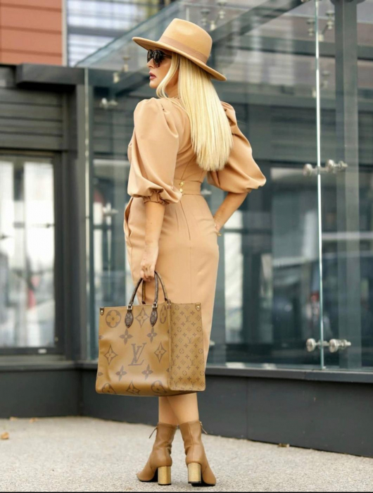 Palarie Bej Handmade cu bentita detasabila din piele 13