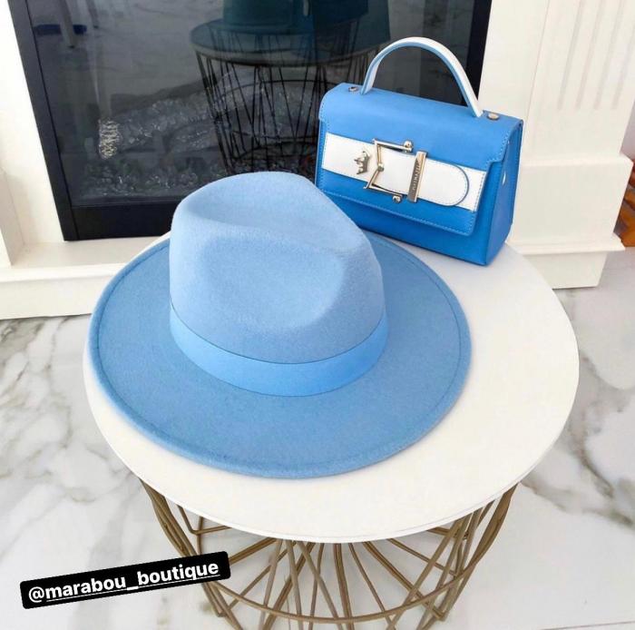Palarie Albastru deschis Handmade cu bentita detasabila cu perle Luxury [5]