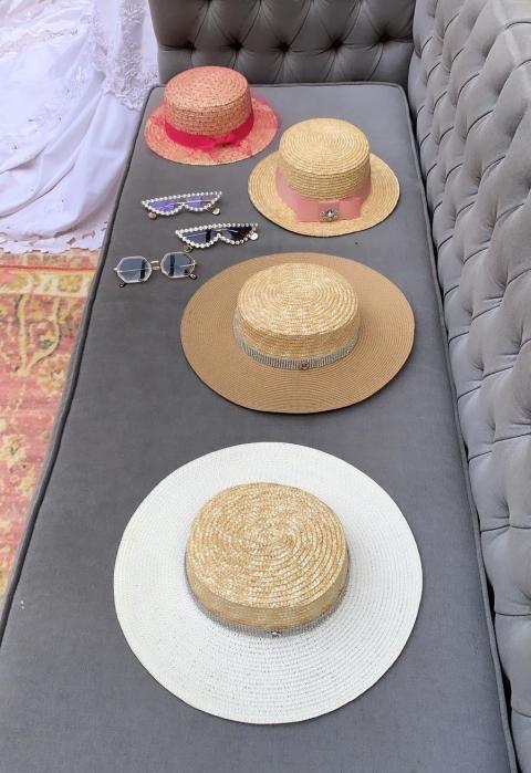 Canotiera Handmade din paie cu bentita detasabila si voaleta cu buline Roz [5]