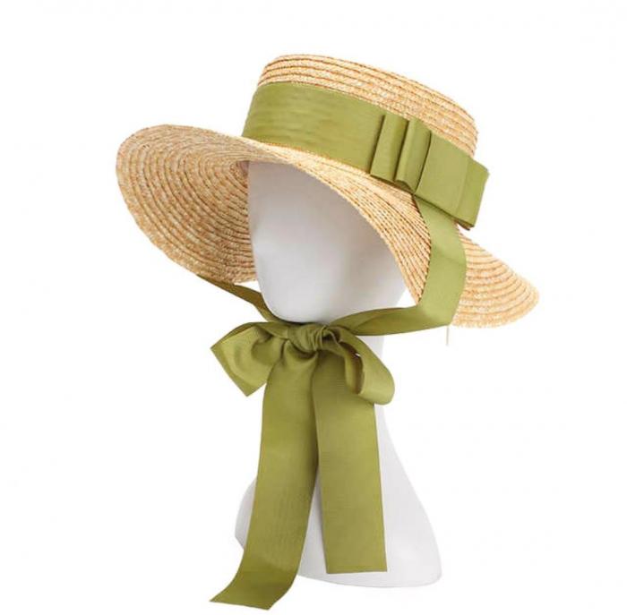 Palarie de Soare Handmade din paie cu bentita detasabila si accesoriu la alegere 3