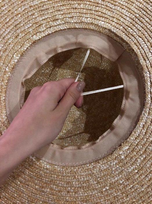 Palarie de Soare Handmade din paie cu bentita detasabila si accesoriu la alegere 6