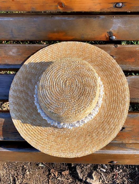 Palarie de Soare Handmade din paie cu bentita detasabila cu Perle Luxury 1