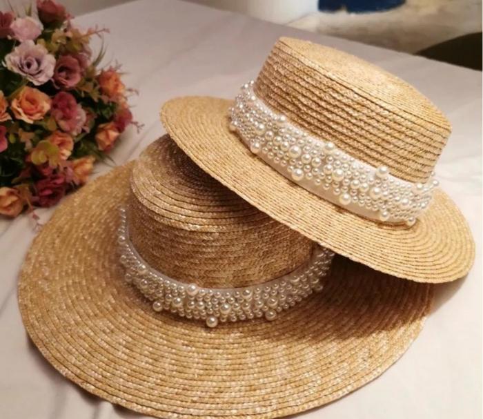 Palarie de Soare Handmade din paie cu bentita detasabila cu Perle Luxury 3