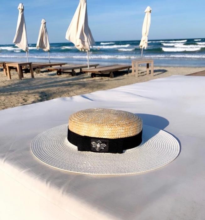 Palarie de Soare Handmade din paie in 2 culoricu funda neagra 3