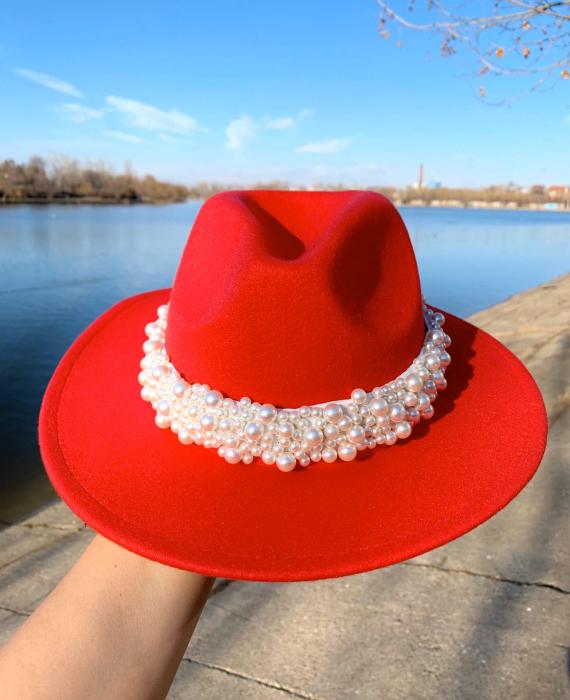 Palarie Rosie Handmade  cu perle Luxury 0
