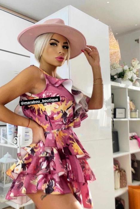Palarie Roz Handmade cu bentita detasabila si brosa la alegere [21]