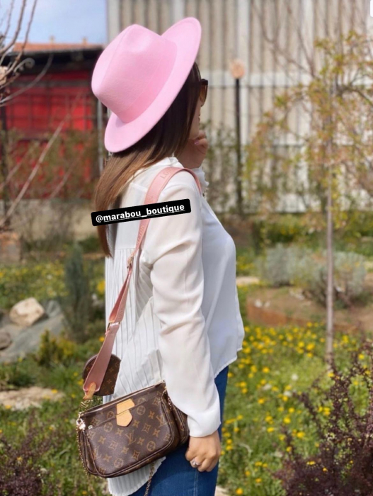 Palarie Roz Handmade cu bentita detasabila si brosa la alegere [24]