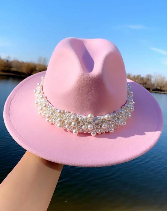 Palarie Roz Handmade cu bentita detasabila cu perle Luxury 0