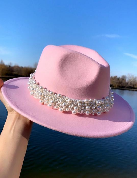 Palarie Roz Handmade cu bentita detasabila cu perle Luxury 23