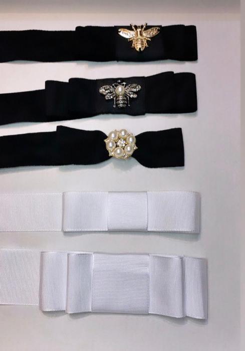 Palarie Unisex Neagra Handmade cu Bor Lat si bentita detasabila cu accesoriu la alegere 24