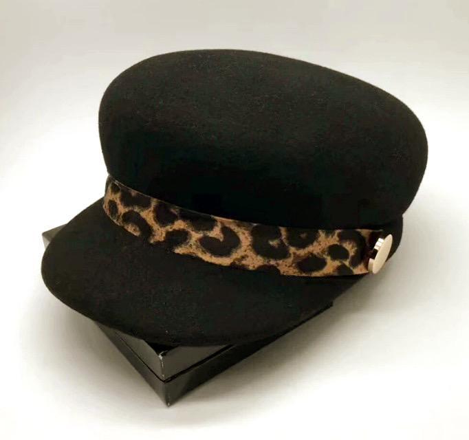 Sapca Neagra eleganta din lana cu Bentita Leopard Print 6