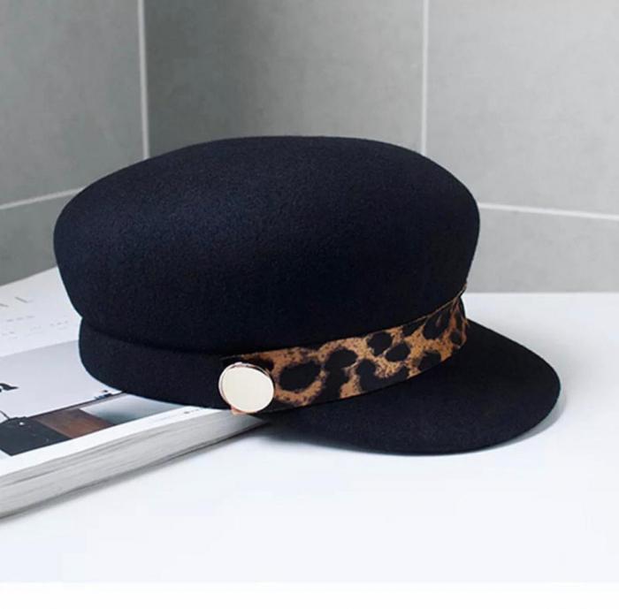 Sapca Neagra eleganta din lana cu Bentita Leopard Print 11