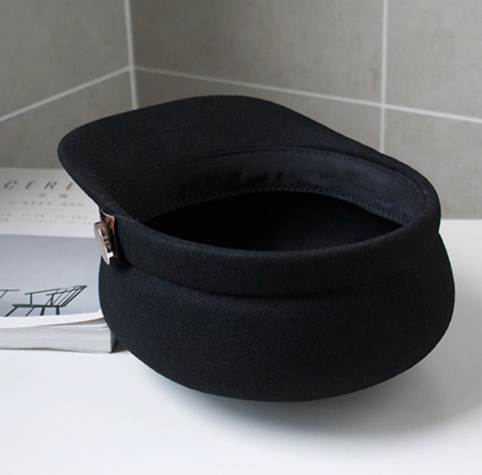Sapca Neagra eleganta din lana cu Bentita Leopard Print 10