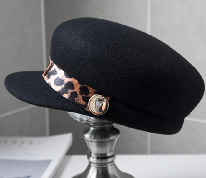 Sapca Neagra eleganta din lana cu Bentita Leopard Print 2