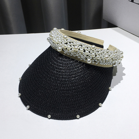 Cozoroc din rafie Negru cu perle pentru adulti sau copii0