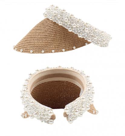 Cozoroc din rafie Bej cu perle pentru adulti sau copii3