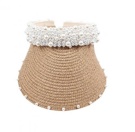 Cozoroc din rafie Bej cu perle pentru adulti sau copii8
