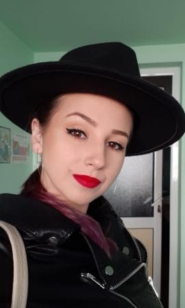 Palarie NeagraHandmade cu bentita detasabila cu tinte12