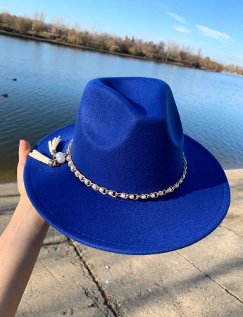 Palarie Albastra Handmade cu Lant detasabil cu perle si franjuri1