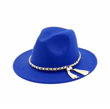 Palarie Albastra Handmade cu Lant detasabil cu perle si franjuri0