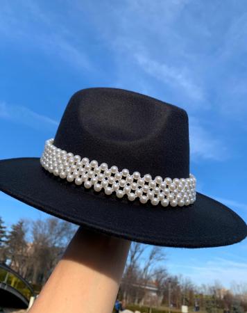 Palarie Neagra Handmade cu bentita detasabila cu perle [14]