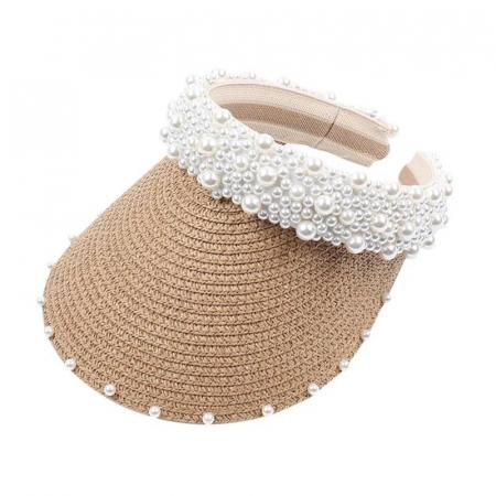 Cozoroc din rafie Bej cu perle pentru adulti sau copii1