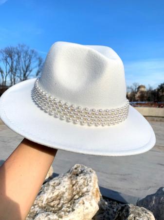 Palarie Alba Handmade cu bentita detasabila cu perle28
