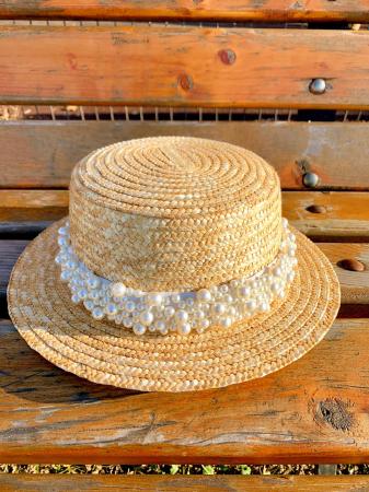 Canotiera de Soare Handmade din paie cu Bor Mic si bentita detasabila cu Perle Luxury [0]