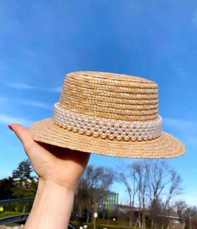 Canotiera de Soare Handmade din paie cu bentita detasabila cu Perle0