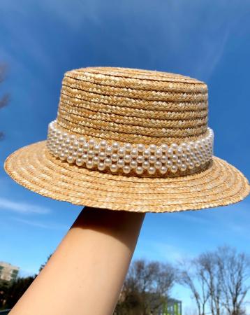 Canotiera de Soare Handmade din paie cu bentita detasabila cu Perle2